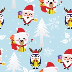 santa,bear,penguin Christmas seamless pattern,winter,happy new year