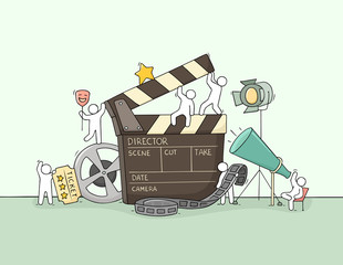 Sketch of little people with cinema symbols.