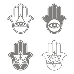 vector icon with Kabbalah symbol Hamsa for your design