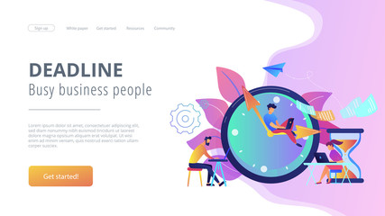 Busy business people with laptops hurry up to complete tasks at huge clock and hourglass. Deadline, project time limit, task due dates concept. Website vibrant violet landing web page template.