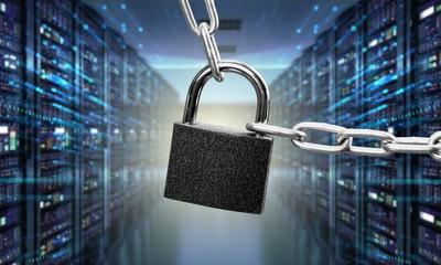 Safety concept:  Padlock on digital background
