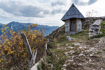 Outdoor toilet with view in Lukomir, remote village in Bosnia