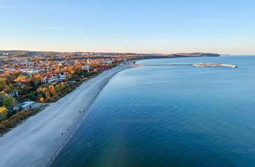 Aerial sea view for Sopot down city