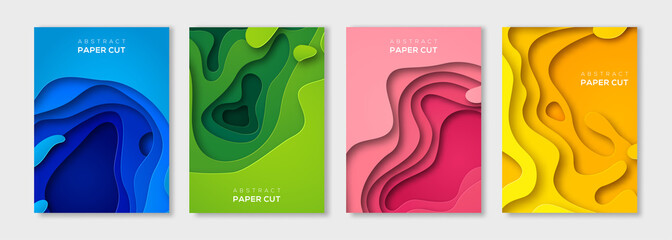 Vertical paper cut banners set