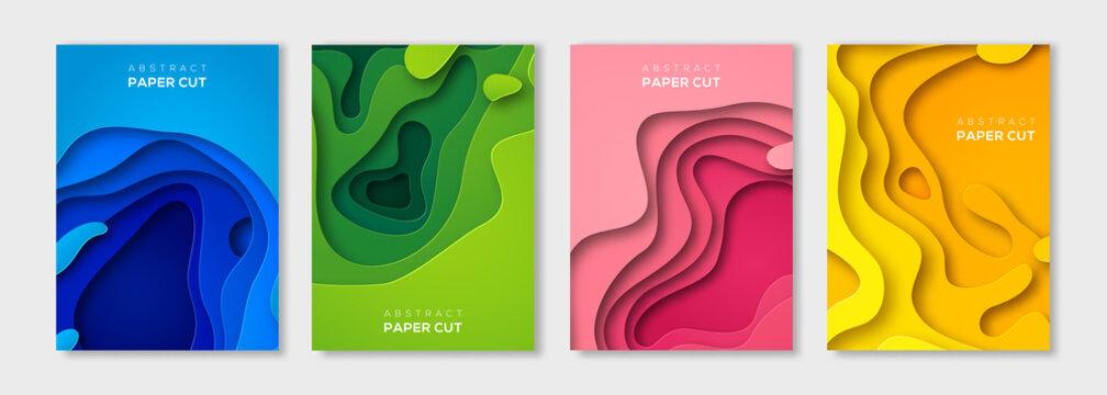 Vertical paper cut banners set