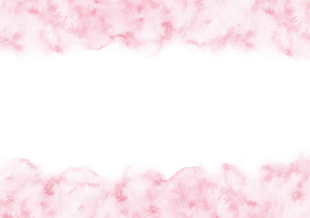 Hand painted pastel pink watercolor texture frame isolated on the white background. Border template for cards and wedding invitations.
