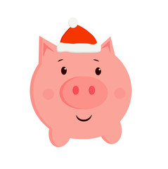 vector cute illustration of a pig in a new year cap. Christmas cartoon picture 2019