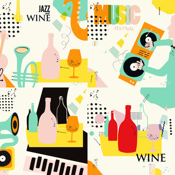 Set of music and wine cards and banners. Jazz music festival cards with instruments flat vector illustration design. Colorful concert posters, party flyers, wine tasting events, restaurant brochures