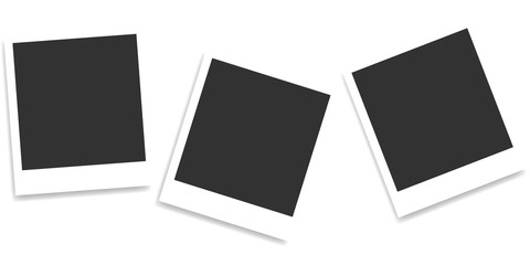 Composition of realistic black photo frames on light background. Mockups for design. Vector illustration Wall mural
