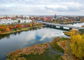 Malbork city in aurumn light - aerial view