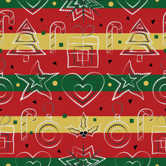 Vector design of a seamless festive pattern with black and white Christmas trees, stars, hearts, holly plants, candy sticks, gifts, snow, confetti and baubles on red, green and gold backdrop