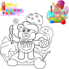 Coloring book, cartoon cute teddy bear with a tassel, funny illustration