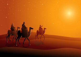 Three wise men, journey to Bethlehem Wall mural