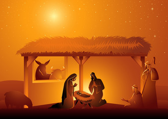 Nativity Scene of The Holy Family In Stable