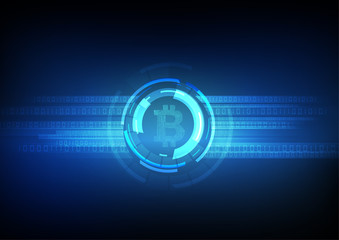 Vector : Electronic circuit inside bitcoin symbol with binary code on blue background