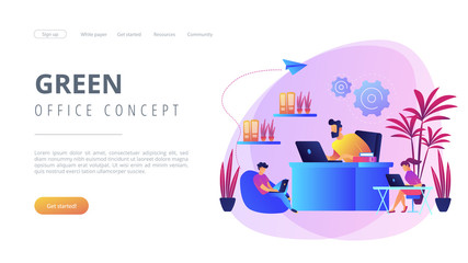 Business people working in modern eco-friendly office with plants and flowers. Biophilic design room, eco-friendly workspace, green office concept. Website vibrant violet landing web page template.