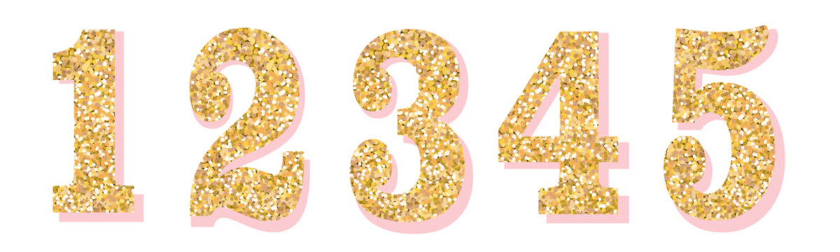 Glitter numbers with pink shadow. Part 1. For decoration of cute wedding, anniversary, party, label, headline, poster, sticker. Vector brilliant shimmer 1,2,3,4,5. Christmas elegant celebration design