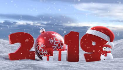 3D Illustration 2019 Weihnachten Schnee