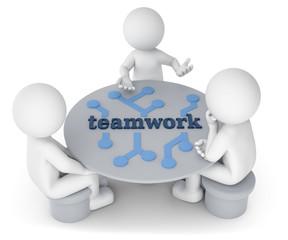 3D Illustration weißes Männchen am Tisch  teamwork