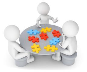 3D Illustration weißes Männchen am Tisch  Puzzle zusammensetzen