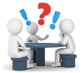 3D Illustration weißes Männchen am Tisch Fragezeichen Ausrufezeichen