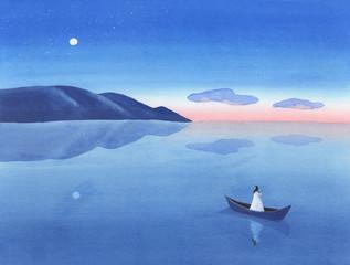 湖畔に船を浮かべて空を見上げる女性