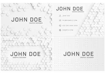 6 White Hexagon Business Cards