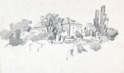 Two-storey house near the forest. Sketch, graphite pencil , Vintage illustration.
