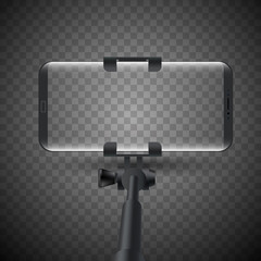 Vector illustration of Monopod Selfie stick with smartphone