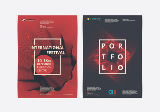 Poster Fest Layout with abstract shape. Vector illustration.