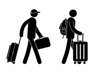 Pictogram people with luggage