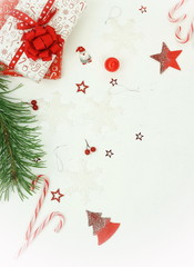 Christmas composition background from red Christmas decorations on white background.  Xmas  of New Year's Christmas balls. Creative Winter holiday concept.Flat lay. Top view. Copy space