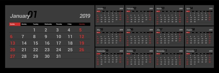 2019 new year calendar in clean minimal table simple style. Black color. Eps 10