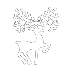 Deer silhouette illustration coloring page
