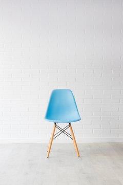 modern blue chair in white decoration background