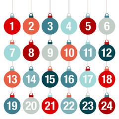 Advent Calendar Christmas Balls Red/Blue Symmetry
