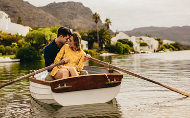 Couple in love on a boat date