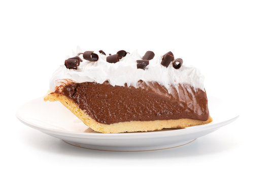 French Silk Chocolate Cream Pie with Whipped Topping and Chocolate Curls