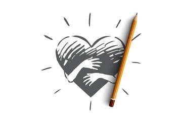Fototapeta Sincerity, love, care, hand, heart concept. Hand drawn isolated vector. obraz