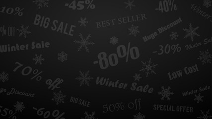 Background on winter discounts and special offers, made of snowflakes and inscriptions, in black and gray colors