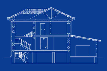 Architectural background. Cross-section suburban house. Vector blueprint.