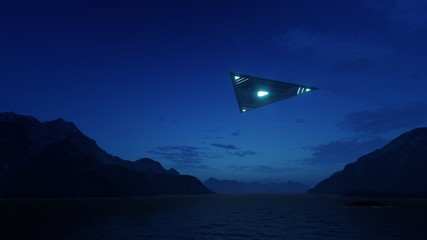 3D triangular ufo hung in the sky in the evening