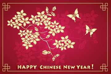 Happy new chinese year card with blossom tree and butterflies.