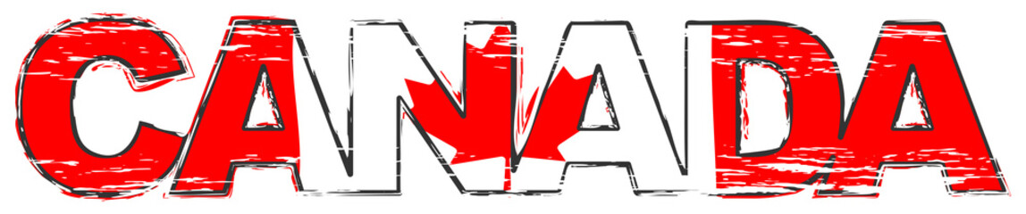 Word CANADA with Canadian national flag under it, distressed grunge look. Wall mural