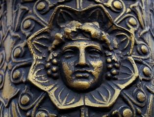 Bacchus, têtre gravée en métal