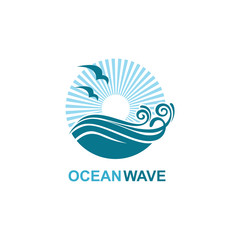 abstract design of ocean icon with waves and seagulls isolated on white background