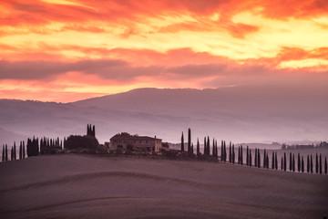 Burning Tuscany Sunrise Val D'Orcia