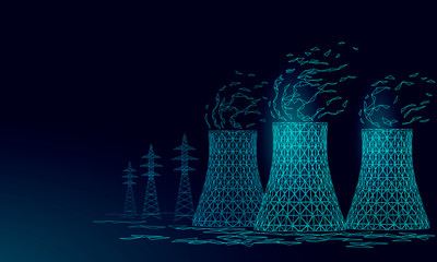 Nuclear power station cooling tower low poly. 3d render ecology pollution save planet environment concept triangle polygonal. Radioactive nuclear reactor electricity vector illustration