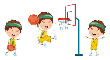 Vector Illustration Of Kid Playing Basketball