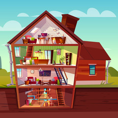 Vector three-story house interior in cross section with basement, cartoon multistorey private building. Attic, furniture in living room, sofa, TV and storage in cellar. Architecture background.